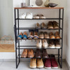 Tower Wood Top 5 Tier Shoe Rack - Black