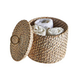 Rattan Round Box with Lid - White