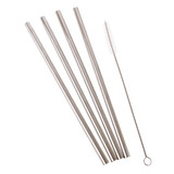 Stainless Steel Smoothie Straws with Cleaning Brush - Set of 4