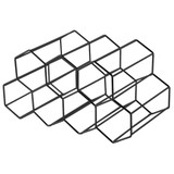 Hexagonal 9 Bottle Wine Rack - Black