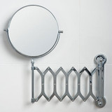 Chrome Wall Mounted Extendable Mirror 2x Magnification