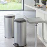 Curver Deco Round Soft Close Pedal Bin 30L - Silver