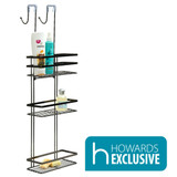 Black Onyx Over the Door 3-Tier Bathroom Shower Caddy
