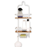2 Tier Bamboo Aluminium Shower Caddy with Soap Holder
