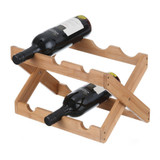 Bamboo 6 Bottle Foldable Wine Rack
