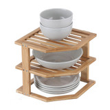 Bamboo 3-Tier Corner Cabinet Pantry Shelf Stacker