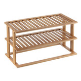 Bamboo 2-Tier Rectangular Cabinet Pantry Shelf Stacker