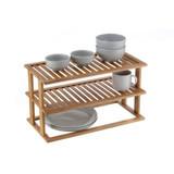 Bamboo 2-Tier Rectangular Cabinet Pantry Shelf Stacker