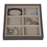 Stackable Jewellery Organiser Tray 6 Compartment - Brown Timber