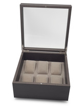 Stackable Jewellery Organiser 6 Watch Box with Lid - Brown Timber