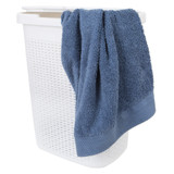 Howards Rectangular Plastic 50L Laundry Hamper - White Rattan
