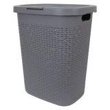 Howards Rectangular Plastic 50L Laundry Hamper - Grey Rattan