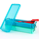 Howards Set of 2 Plastic Storage Boxes with Lids Long 300ml - Blue/Aqua