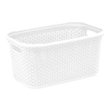 Howards Rectangular Plastic 28L Laundry Basket - White Rattan