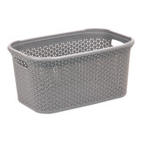 Howards Rectangular Plastic 28L Laundry Basket - Grey Rattan