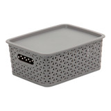 Howards Rectangular Plastic 4L Basket with Lid - Grey Rattan