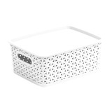 Howards Rectangular Plastic 4L Basket with Lid - White Rattan