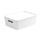 Howards Rectangular Plastic 11L Basket with Lid - White Rattan