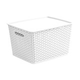 Howards Rectangular Plastic 18L Basket with Lid - White Rattan