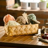 IconChef Wide Woven Basket Short Rectangular Small - Natural