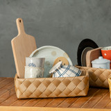 IconChef Wide Woven Basket Rectangular Medium - Black
