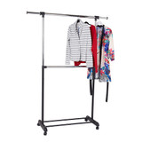 Howards Adjustable 2-Rod Garment Rack - Chrome