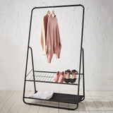 Howards Garment Rack with Two Shelves - Black