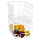 Howards Wire Stackable Basket Narrow - White