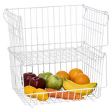 Howards Wire Stackable Basket Large - White