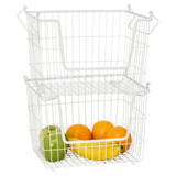Howards Powder Coated Wire Stackable Basket Large - White