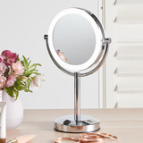 LED Pedestal Double Sided Mirror 5x Magnification & 1x Magnification