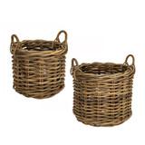 Rattan Rounded Log Basket - 2 Piece Set
