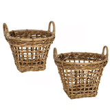 Rattan Rounded Basket with Handles - 2 Piece Set