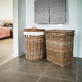 Rattan Rectangular Laundry Hamper Basket with Lid