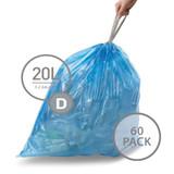 simplehuman Bin Recycling Liner 20L Code D - 60 Pack