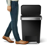 simplehuman Rectangle Step Rubbish Bin 45L - Black