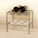 Seville Stemmed Wine Glass Holder & Shelf - Silver