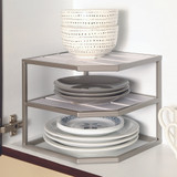 Seville Stacking 2-Tier Cabinet Pantry Corner Shelf - Silver/White