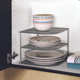 Seville Stacking 2-Tier Cabinet Pantry Corner Shelf - Silver Mesh