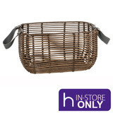 Howards Poly Rattan Rectangular Basket with Handle - Small