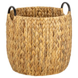 Howards Water Hyacinth Round Basket with Metal Handle - Medium