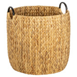 Howards Water Hyacinth Round Basket with Metal Handle - Large