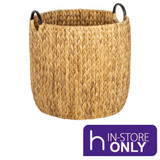Howards Water Hyacinth Round Basket with Metal Handle - Large
