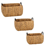 Howards Water Hyacinth Rectangular Basket with Metal Handle 3-Piece Set