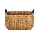 Howards Water Hyacinth Rectangular Basket with Metal Handle - Small