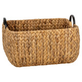 Howards Water Hyacinth Rectangular Basket with Metal Handle - Large