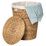Howards Water Hyacinth Round Laundry Hamper Basket with Lid