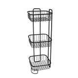 Wire Bathroom 3 Tier Square Freestanding Floor Stand - Black