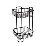 Wire Bathroom 2 Tier Square Freestanding Floor Stand - Black