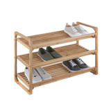 3 Tier Bamboo Stackable Shoe Rack